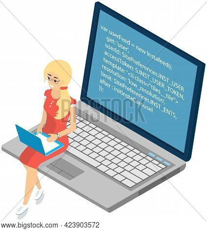 Young Woman Sitting On Computer And Working With Laptop In Social Networks. Girl Searching For Educa