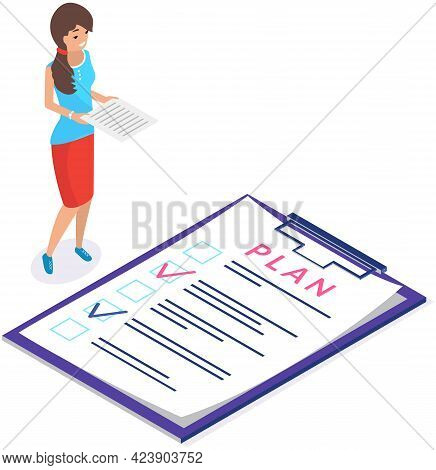 Businesswoman Smiles And Stands With Documents In Her Hands Works With Plan. Woman Works And Analyze