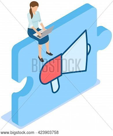 Woman With Laptop Sits On Megaphone Icon On Puzzle Block, Loudspeaker Sound Amplification Device On
