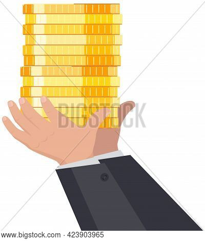 Billionaire Businessman With Stack Of Golden Coins In Hands. Rich Man In Costume Shoveling Up Wealth