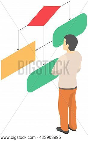 Man Looking At Whiteboard With Schemes Vector, Programmer Examining Charts And Info On Board. Male C