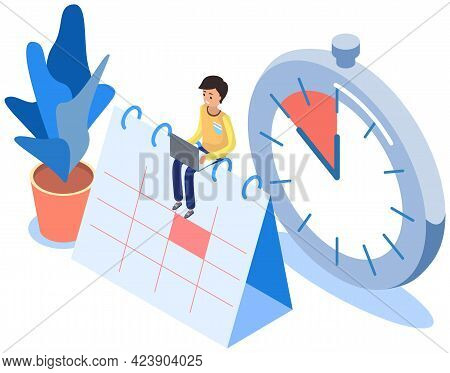 Business Plan, Work Schedule, Businessman Sits On Calendar, Works With Plan. Man Working With Comput