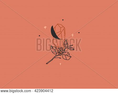 Hand Drawn Vector Abstract Stock Flat Graphic Illustration With Logo Element, Bohemian Magic Logo Of