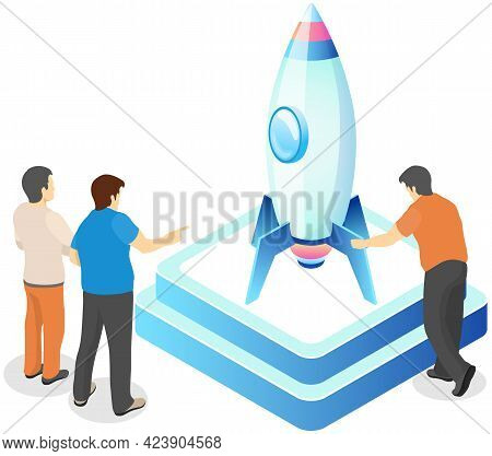 Presentation Of New Startup Project Business Plan, Investment Research. Launch Of Rocket As Symbol O