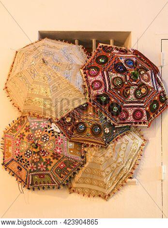 Embroidered Indian Umbrellas Texture In Altea, Alicante, Spain