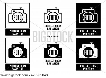 A Set Of Manipulation Symbols For Packaging Cargo Products And Goods. Marking - Protect From Radiati