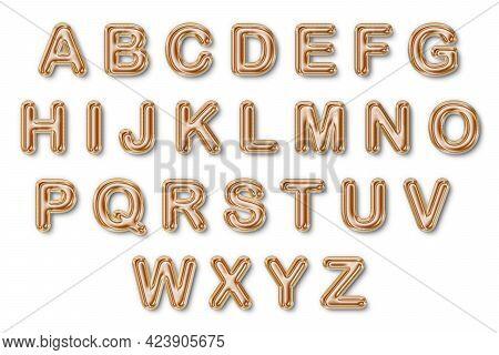 3d Gold Foil Balloon Uppercase Text A B C D E F G H I G K L M N O P Q R S T U V W X Y Z (a-z). On Is