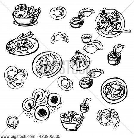 Dumplings, Delicious Siberian Food, Manti, Dumplings And Dumplings With Sauces