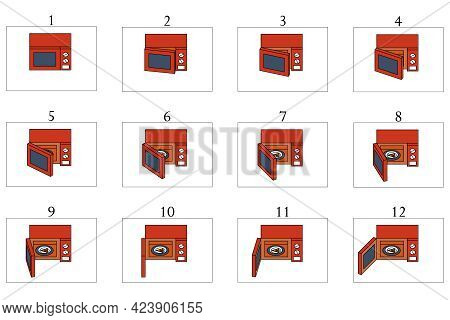 Animation Of A Red Microwave Oven. Animation Of Opening A Microwave With Slice Of Pizza In 12 Frames