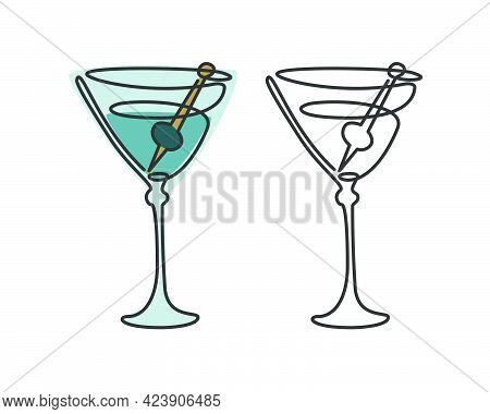One Line Drawing Martini Glass With Olive On White Background. Two Kinds Colored Cartoon Graphic Ske