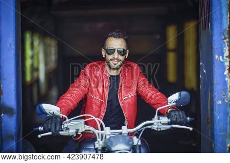 A Nice Man On A Chopper Motorcycle