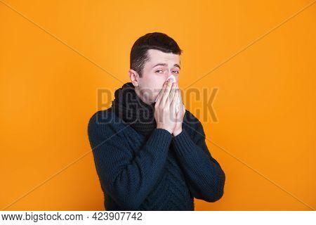 Man Cover His Sneeze With Handkerchief. Flu. Influenza, Runny Nose, Sneeze