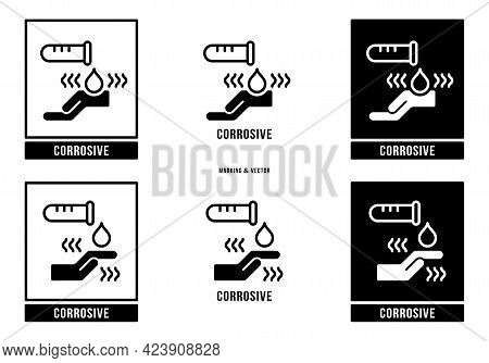 A Set Of Manipulation Symbols For Packaging Cargo Products And Goods. Marking - Corrosive. Vector El