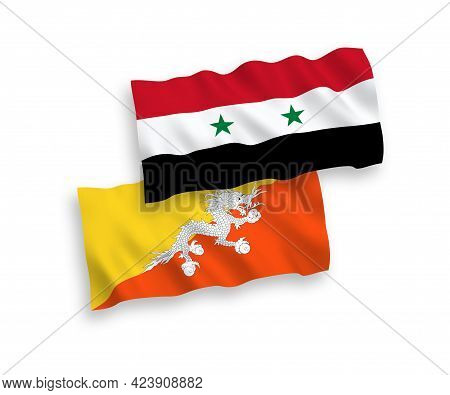 National Fabric Wave Flags Of Kingdom Of Bhutan And Syria Isolated On White Background. 1 To 2 Propo
