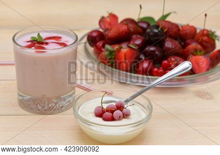 Breakfast With Dairy Products, Fresh Berries, Sour Cream, Yoghurt And Berry Platter
