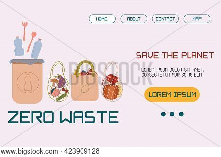 Template, Layout Landing Page With An Illustration Trash Can With Plastic, Bags For Products Of The