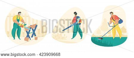 Yard And Garden Cleaning Set. Male Character Is Mowing Lawn With Trimer And Cleaning Leaves With Gar
