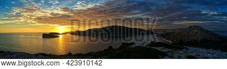 Nice Sunset On The Kornati Islands National Park Archipelago View, Landscape Of Dalmatia, Croatia In