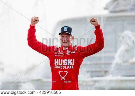 June 12, 2021 - Detroit, Michigan, USA: MARCUS ERICSSON (8) of Kumla, Sweden wins the Chevrolet Detroit Grand Prix at the Belle Isle  in Detroit, Michigan.