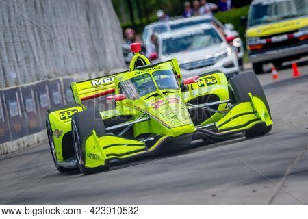 June 13, 2021 - Detroit, Michigan, USA: SIMON PAGENAUD (22) of Montmorillon, France races through the turns during the  race for the Chevrolet Detroit Grand Prix at Belle Isle in Detroit, Michigan.
