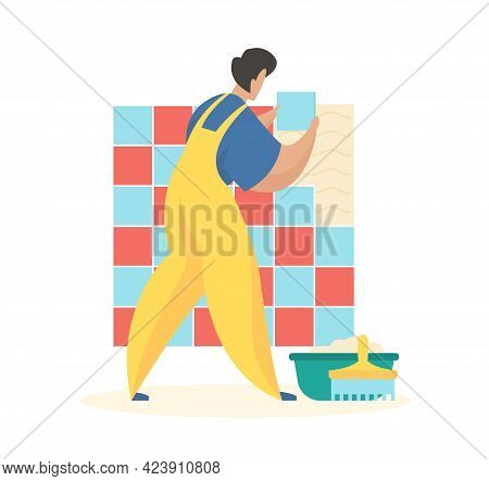 Laying Wall Tiles. Man In Uniform Glues Squares Surfacetrowel And Basin With Mortar On Floor. Profes