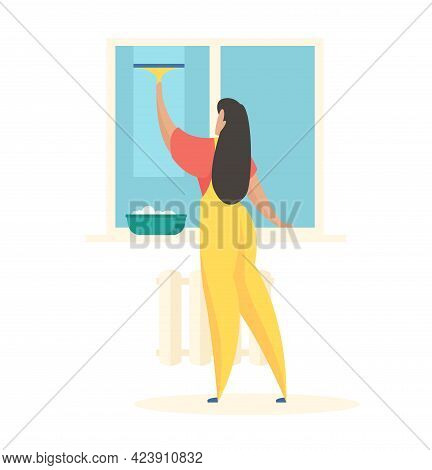 Washing Windows In House. Female Character In Uniform With Brush In Hand Wipes Glass. Basin Of Deter