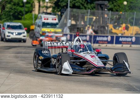 June 11, 2021 - Detroit, Michigan, USA: JOSEF NEWGARDEN (2) of the United States practices for the Chevrolet Detroit Grand Prix at the Belle Isle in Detroit, Michigan.