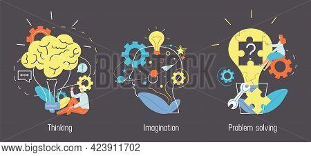 Brain Activity Concept. Thinking, Imagination, Problem Solving, Brainstorming, Creativity, Idea, Mot