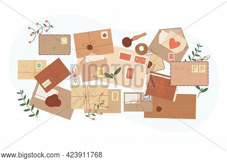 Different Envelopes With Mail, Postcards, Postmarks. Various Handmade Craft Paper Letters And Cards,