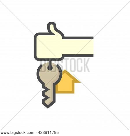 House Sale, Buy Concept Vector Icon. Consist Of Hand Holding Keyring Or Keychain, Home Or House Sign