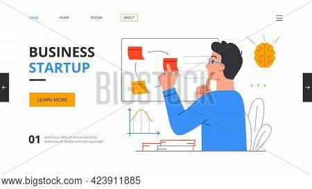 Startup Hub, Incubator Or Accelerator. Entrepreneurship Concept With Young Man Young Man Analyzing D