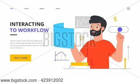 Young Bearded Male Character Interacting To Workflow Operations. Workforce Process Optimization, Man