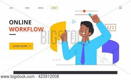 Online Workflow Abstract Concept. Workforce Process Optimization, Management, Productivity Control C
