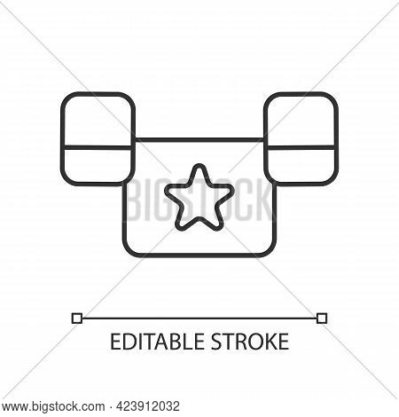 Puddle Jumper Linear Icon. Keeping Child Safe In Swimming Pool And Sea. Outdoor Water Activities. Th