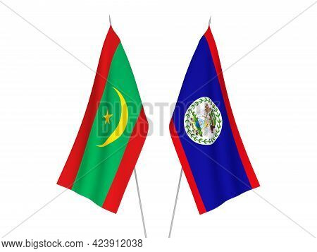 National Fabric Flags Of Islamic Republic Of Mauritania And Belize Isolated On White Background. 3d