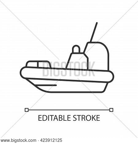 Rescue Boat Linear Icon. Lifeboat For Victims Rescuing. Survival Craft. Lifesaving Works. Thin Line