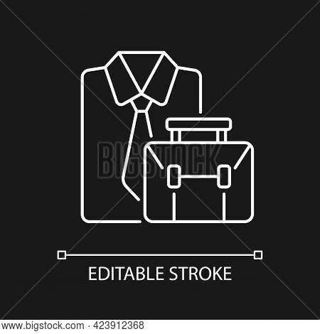 Formal Clothing And Briefcase White Linear Icon For Dark Theme. Professional Worker Outfit And Bag.