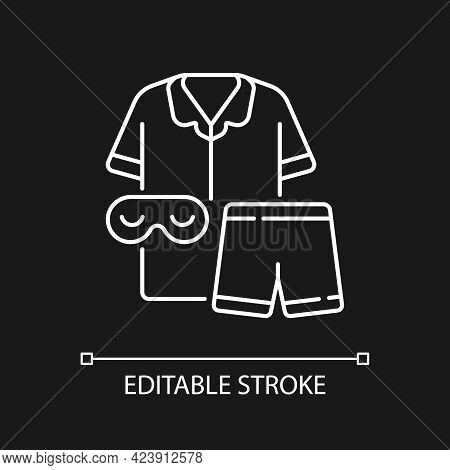 Pajamas White Linear Icon For Dark Theme. Unisex Pyjamas And Eyewear. Pants And Shirt For Sleep. Thi