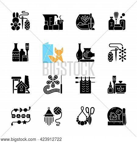 Trending Hobbies Black Glyph Icons Set On White Space. Home Business. Boho Style. Craft Activity. Cr