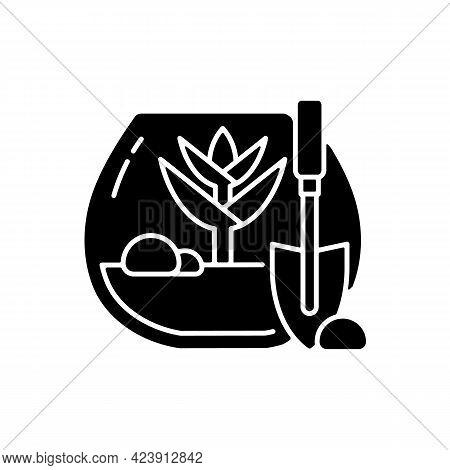 Diy Tropical Terrarium Black Glyph Icon. Growing Plants Inside Humid Environment. Woodland Mosses Un