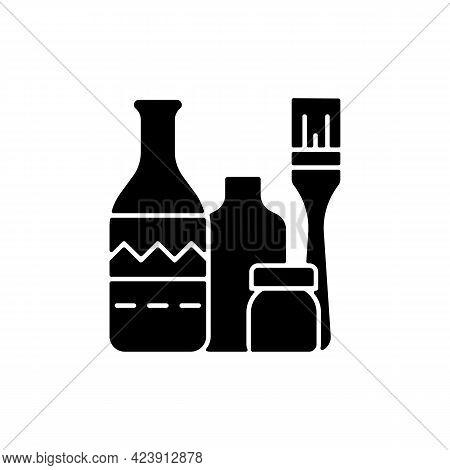 Bottle Painting Black Glyph Icon. Home Decor. Repurposed Wine Bottles. Flower Homemade Vases. Glass-