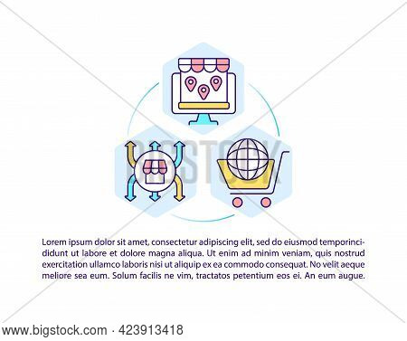 Online Marketplace Concept Line Icons With Text. Ppt Page Vector Template With Copy Space. Brochure,