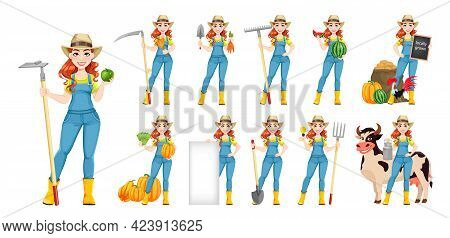 Beautiful Woman Farmer, Set Of Eleven Poses. Cute Girl Farmer Cartoon Character With Carrots, With S
