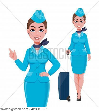 Stewardess In Blue Uniform, Set Of Two Poses. Beautiful Woman Stewardess Cartoon Character In Profes