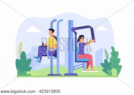 People Training With Fitness Equipment Outdoors. Male And Female Characters Actively Pumping Muscles