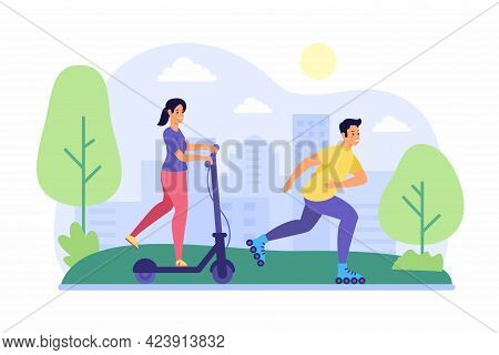 Scooter And Roller Skating In Park. Young Woman Rides Joyful On Electric Scooter. Guy Runs Asphalt O