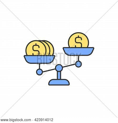 Money Scales Rgb Color Icon. Wage Gap. Unequal Pay. Negative Effect On Earnings. Isolated Vector Ill