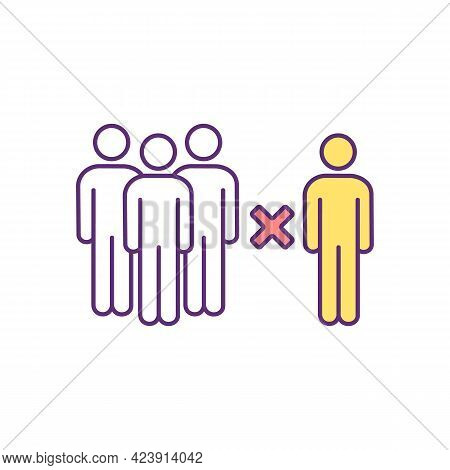 Ethnicity Segregation In Modern Society Rgb Color Icon. Social Exclusion. Isolated Vector Illustrati
