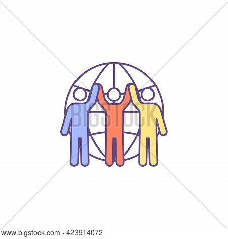 Racial Unity Rgb Color Icon. Race-related Differences. Isolated Vector Illustration. Reducing Discri