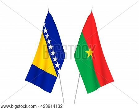 National Fabric Flags Of Bosnia And Herzegovina And Burkina Faso Isolated On White Background. 3d Re